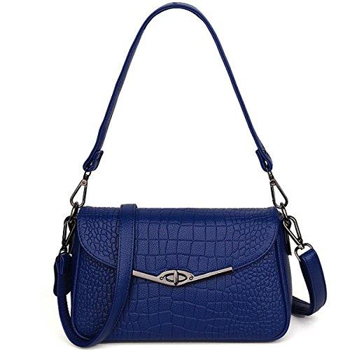 Geprägte Damen Damen Schultertasche button Tasche Messenger Bag Kleine quadratische Tasche, rot Blau