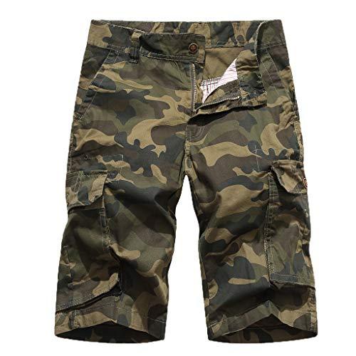 Multi Kostüm Person - sunnymi  ® Herren Tarnen Hose Neue Sommer-Tarnung Multi-Pocket Overalls Mode Strandhose