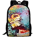 HOJJP Most Durable Lightweight Water Resistant Book Bag Daypack One Size - Unstrained Afro Blue Respect The Queen