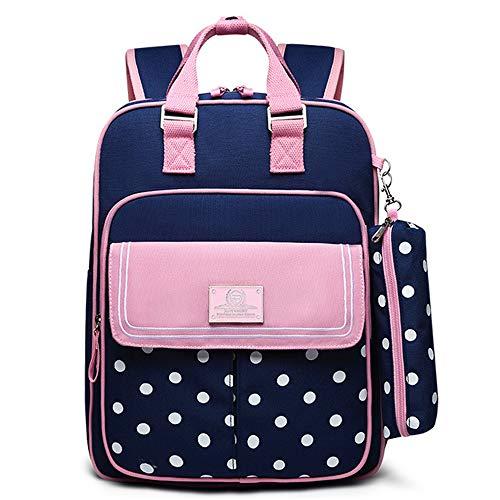 WAYPGC Kinderrucksack mit Federmäppchen, Mode im britischen Stil, leichte und wasserdichte Tasche, Schützen Sie den Rücken, für Grundschule Junge Mädchen,Pink2