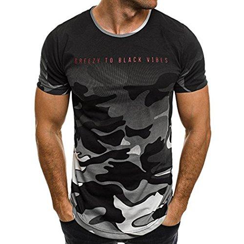 ❤️Tops Blouse Homme T-Shirt, Amlaiworld T-Shirt Camouflage de Mode Hommes Casual Tops Slim Chemise à Manches Courtes Blouse de Personnalité Thongs Hommer Boxer (M, Gris)