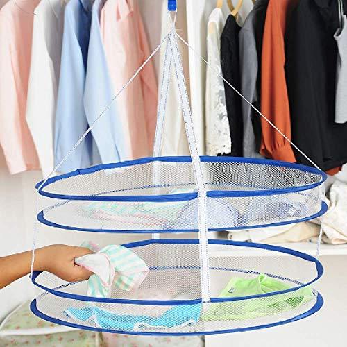 STERF Doppelschicht Wäscheständer Falten Hängende Kleidung Wäschekorb Trockner Net Unterwäsche Socken Lagerung Kleiderbügel Wäscheständer Mesh -