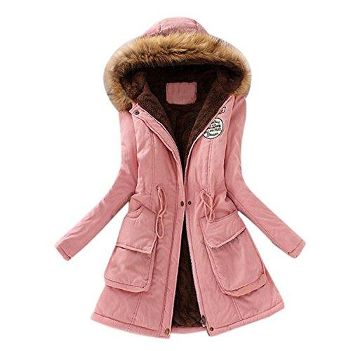 Toamen da Donna Caldo Pelliccia Collare Lungo Cappotto Cappuccio Sottile Inverno Eskimo Outwear Giacca Addensare Faux Pelliccia Foderato Parka Sottile Cappotti(Rosa,XXX-Large)