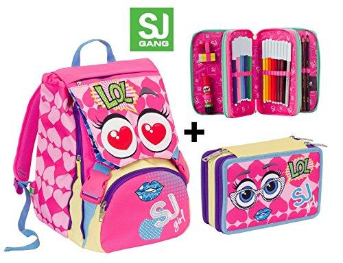Zaino scuola sdoppiabile SJ GANG FACCINE - GIRL - Rosa Blu Giallo - + Astuccio 3 zip - FLIP SYSTEM - 28 LT elementari e medie 3 pattine sfogliabili