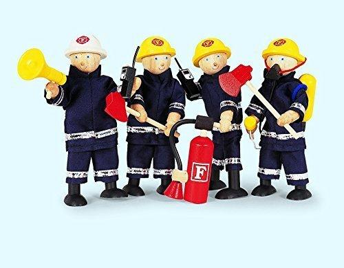 Preisvergleich Produktbild 4 Feuerwehrmänner & Zubehör aus Holz / Biegepuppen mit Feuerwehranzug und Zubehör / Puppe - Höhe: ca. 14 cm / 3+