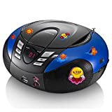 etc-shop Tragbarer CD-Player UKW MW Radio Tuner MP3 USB im Set Inklusive Puffy Sticker