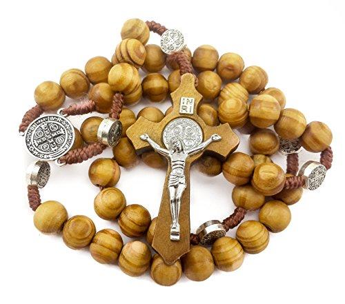 b730bd0bcd1f nazareth market store. San Benito medalla de madera de olivo rosario  Católica Nr hecha a mano de Jerusalén