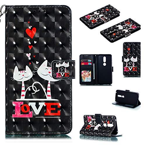 Nadoli Wallet Handyhülle für Nokia 7.1,Kreative 3D Liebe Katze Muster Taljereep Ständer Flip Ledertasche Brieftasche Schutzhülle Etui für Nokia 7.1