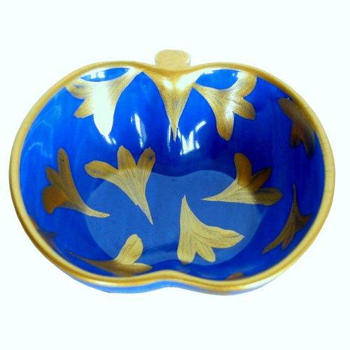 'Lapiz Tulipe' - A Bleu et or peinte à la main en porcelaine anglaise Apple Bol dans une luxueuse boîte cadeau pour un cadeau ou sophistiqué pour anniversaire de mariage ou pour la décoration de mariage, Coiffeuse, DE SALLE DE BAIN ou de cuisine