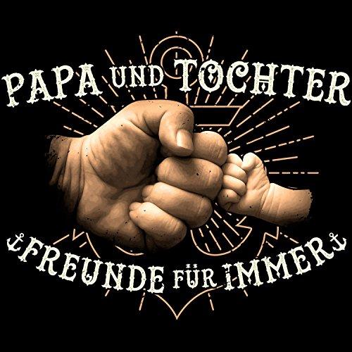 Fashionalarm Herren T-Shirt - Papa und Tochter - Freunde für immer | Fun Shirt mit Motiv & coolem Spruch Geschenk Idee Geburt Mädchen Kind Baby Vater Schwarz