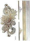 Oro Metal Joyas Hauttattoo para Piernas, Brazos, Plumas de pavo, 12-PC. DK60