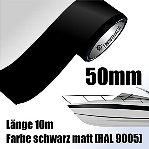 Ornamentales rayas 10m negro mate 50mm Auto Barco Moto acuática Modelo Diseño vinilo Decoración Rayas
