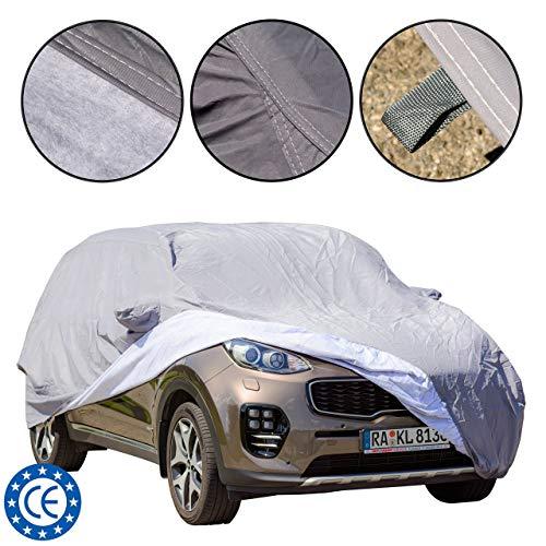 Staub / UV fest, wasserdicht, kratzfest, langlebige Auto Abdeckung Vollgarage mit Baumwoll-Innenfutter für SUV, Universelle Passform (480 * 193 * 155 cm) L