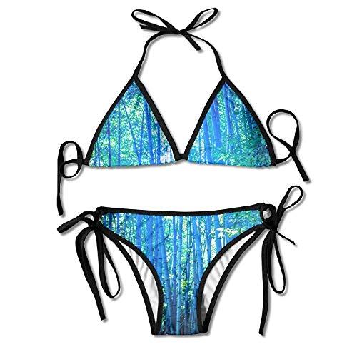 HIWSSH Bikini Swimwear Bamboo Women's Tie Side Bottom Bikini Suits Two Pieces Swimwear -