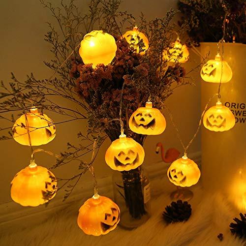YEARYOWN Halloween Kürbis dekorative Lichter 1,5 m 10 Lichter / 3 m 20 Lichter LED Kürbis Lichter USB schnelle Stromversorgung Shantou Laterne String Urlaub Lichter,1.5M (Schnelle Und Einfache Zombie Kostüm)