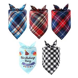 Unihubys Bandana d'anniversaire pour Chien et écossais pour Chiens de Petite Taille Moyenne et Grande Taille