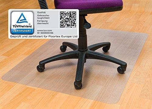 Floortex Bodenschutzmatte | Bürostuhlunterlage | 120 x 150 cm | aus phthalatfreiem Vinyl | transparent | rechteckig | TÜV zertifiziert | für harte Böden