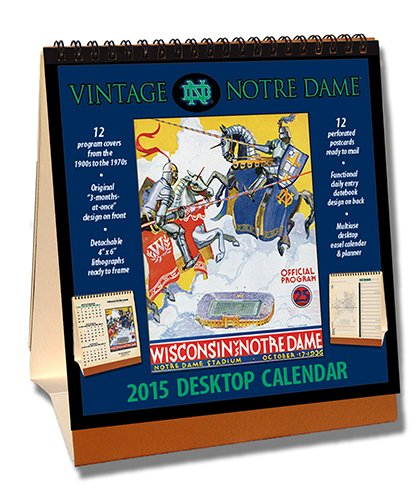 Notre Dame Fighting Irish 2015 Easel Desktop Vintage Football Calendar - Desktop-kalender-easel