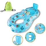 Schwimmring für Baby von 3 Monaten bis 36 Monaten und Mutter PVC Aufblasbare Schwimmhilfe mit Tasche(Blau)