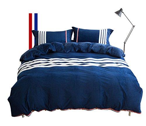 NXL Premium Eine Vierköpfige Familie, Bettwäsche Bettwäsche, Bettdecke, Kissenbezüge, Multicolor, Plüsch Neuen Winter,Blue