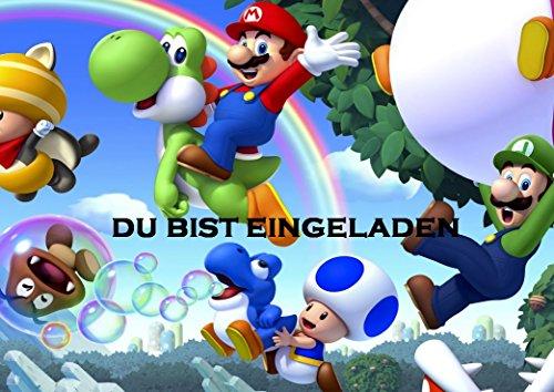 TV-24 Super Mario Einladungskarten 12er Set inkl. 12 Umschläge E3 (Mario Super Bleistifte)