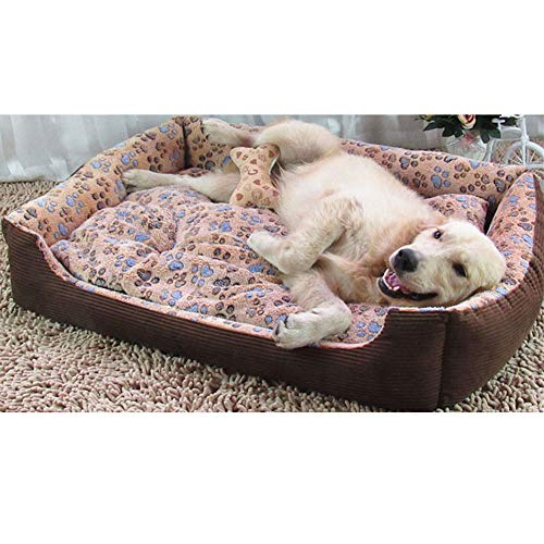 CQLXZ Hundebett, Plüsch Hundebetten Hundesofa Komplett Waschbar, Extrem Weich Und Bequem, Für Kleine, Mittelgroße Und Große Hunde,Braun,XS