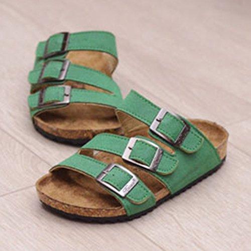 Sandales Multicolores Mixte Enfant - Mules Garçon - Chaussons pour Fille Vert