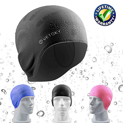 vetoky Silikon Badekappe, Unisex Schwimmkappe 100% Wasserdicht rutschfeste Bademütze Badehaube Für Männer, Frauen Lange Haare und Kinder