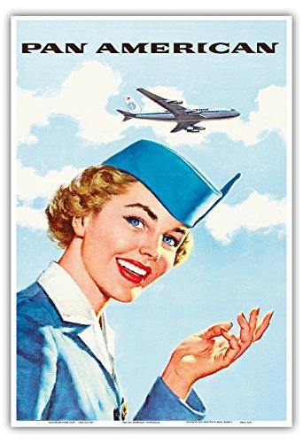 irways PAN AM Luftfahrt- Flug Stewardess - Vintage Retro Fluggesellschaft Reise Plakat Poster c.1960s - Kunstdruck - 33cm x 48cm ()