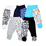 TupTam Unisex Baby Hose mit Fuß Bunte Strampelhose 5er Pack, Farbe: Junge 2, Größe: 80