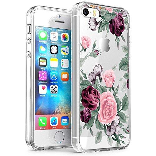 RXKEJI iPhone 5 Hülle, iPhone 5S Hülle, Handyhülle TPU Silikon Weiche Clear Schutzhülle Transparent Flexibel Case Handy Hülle für Apple iPhone 5 5S SE - Pink Purple Rose (Iphone 5s Purple Rose Case)