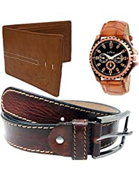 XPRA Analog Watch, Brown Genuine Leather Casual Belt For Jeans, Casual Wear & Brown P U Leather Wallet For Men...