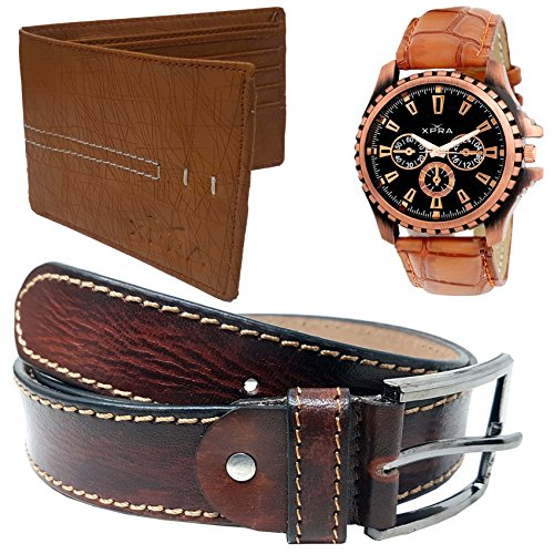 XPRA Analog Watch, Brown Genuine Leather Casual Belt for Jeans, Casual Wear...