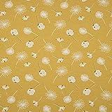 0,5m Jersey Löwenzahn Pusteblume senf gelb - grau 95%