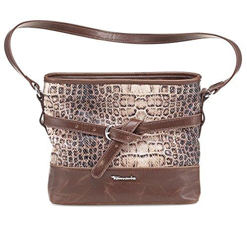 TAMARIS FLORA Handtasche, Shoulder-Bag, Lack- oder Matt-Applikationen, 2 Farben: schwarz comb, oder tobacco braun comb tobacco braun