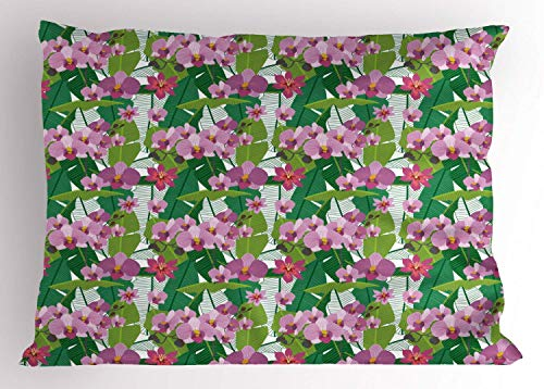 HFYZT Orchids Pillow Sham, Leaves in Green and Blossoms in Pink Shades Tropical Paradise Island Flora Theme, Decorative Standard King Size Printed Kissenbezug Pillowcase, 18 X 18 inches, Multicolor -