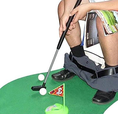 Amasawa Toiletten Golf Set, 6-teilig, Golfschläger, Circa 62 cm,Töpfchen Putter Badezimmer Spiel Neuheit Putting Geschenk Spielzeug Trainer Set.