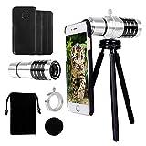 Yarrashop 12X Teleobjektiv Handy Zoom iPhone Tele Linse Kamera Zubehör HD optischer Zoom Lens Aufsatz Set mit Zeiss für iPhone 8 Plus 7 Plus /6s Plus / 6 Plus/ 8/7 / 6S / 6/5 /5s (12X)