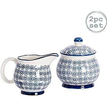 Nicola Spring Bol//Pot /à Sucre /à Motifs avec Couvercle Fleur Bleue