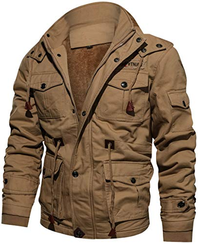 TACVASEN Casual Jacke Herren Warm Fleece Jacke Full Zip Hoodie Freizeitjacke Winter Travel Jacket Mens Ski Schnee Jacke Warme Baumwoll Atmungsaktive Jacke Jagd Angeln Jacke Khaki Beige Travel Jacket