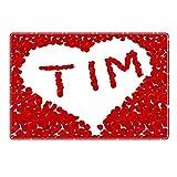 Tischset mit Namen ''Tim'' Motiv Rosenherz - Tischunterlage, Platzset, Platzdeckchen, Platzunterlage, Namenstischset