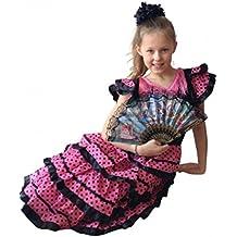 La Senorita Vestido Flamenco Español Traje de Flamenca chica/niños negro rosa (Talla 6, 110-116 - 75 cm, 5/6 años, negro rosa)