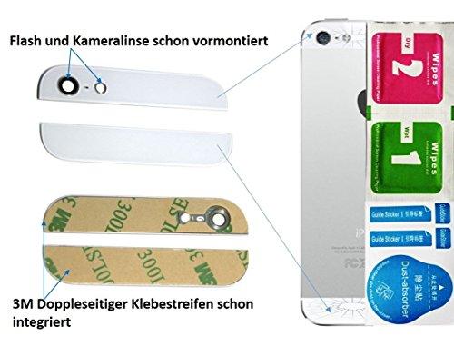 WEIß 2-in-1 Ersatz Glas Set (Oben / Unten) für iPhone 5 5G Backcover mit Blitz- und Kameralinse - Glasset inkl. 3-in1 Reinigungset - - 5c Ersatz-linse Iphone