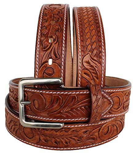 Unbekannt Westerngürtel für Herren und Damen, echtes Leder, Braun 2646RS, hautfarben, 35-36 inches