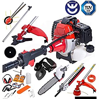 BU-KO 2019 52cc Long Reach Petrol Multi Functional Garden Tool Including: Strimmer, Hedge Trimmer, Pruner Chainsaw, Brush Cutter with 2.4mm Thick Trimmer Line & Extension Pole