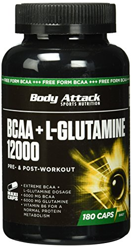 Body Attack BCAA+ L-Glutamine 12000, 1er Pack (1x 180 Kapseln)
