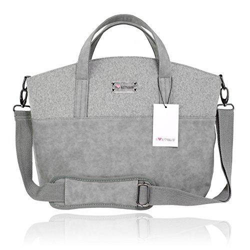 Herzmutter Multifunktionale, geräumige Wickeltasche, große, moderne Kinderwagentasche inklusive Kinderwagenbefestigung, Dunkelgrau-Hellgrau-Schwarz-Braun (4000_4300) (Hellgrau)