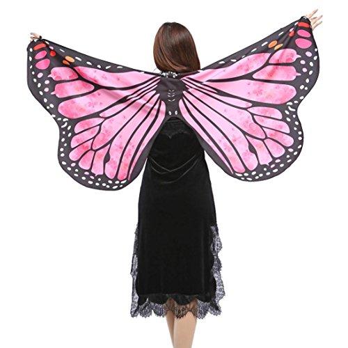Kostüm,Beikoard 147*70CM Frauen Butterfly Wings Schmetterling Flügel Schal Schals Damen Nymphe Pixie Poncho Kostüm Accessoire für Show / Daily / Party (Rose Rot 3) (Einzigartige Adult Halloween-kostüm)