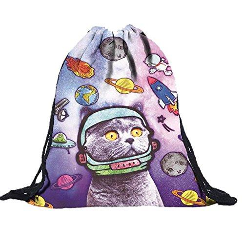 ZARU Las mujeres y los hombres mochilas gato impresión 3D Bolsas del morral del lazo La bolsa de cuerda Bolsa de la compra Bolsa de viaje Bolsa de regalo
