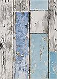 ecosoul Wachstuchtischdecke Scrapwood Breite 140 cm abwaschbar grau weiß Länge 200 cm hellblau Holz-Optik Outdoor-Tischdecke Länge